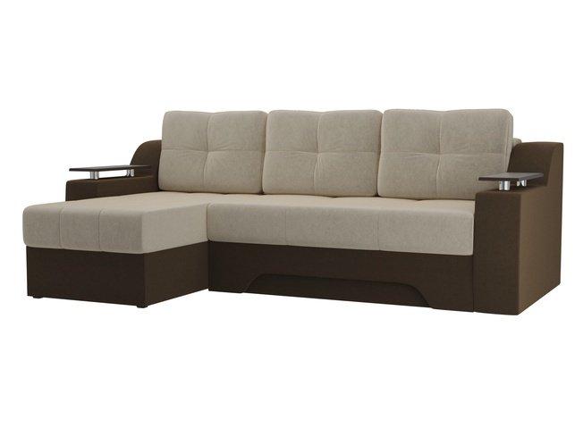 Угловой диван-кровать левый Сенатор, бежевый/коричневый/микровельвет фото