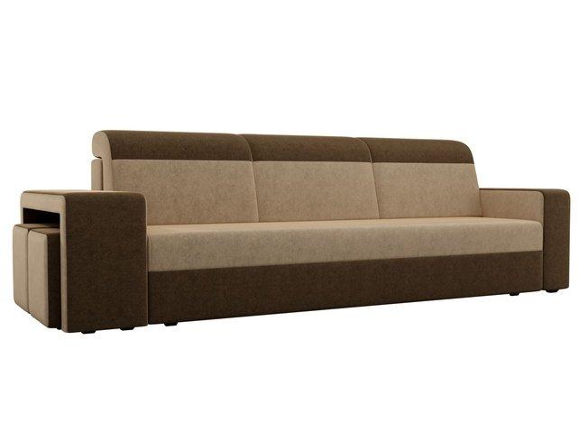 Диван-кровать Модена с двумя пуфами, бежевый/коричневый/микровельвет фото