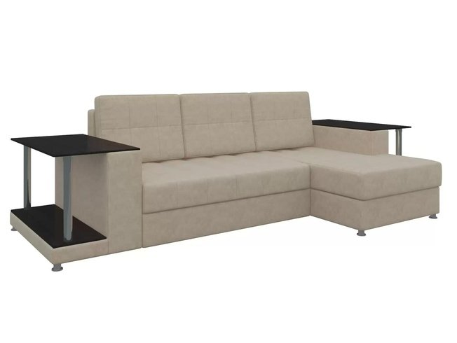 Угловой диван-кровать правый Даллас, бежевый/микровельвет фото