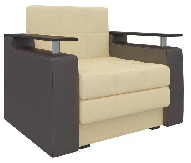 Кресло-кровать Мираж, бежевое/коричневое/экокожа фото