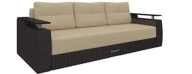 Диван-кровать Лотос, бежевый/коричневый/экокожа фото