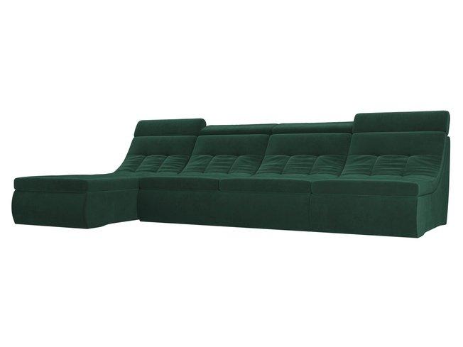 Угловой модульный диван-кровать левый Холидей Люкс, зеленый/велюр фото