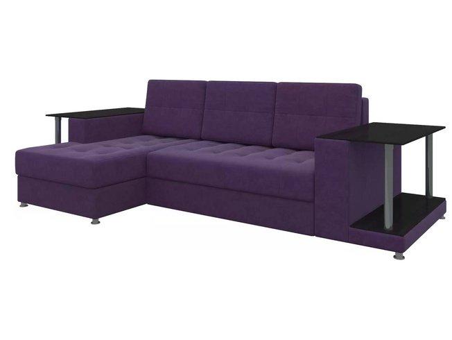Угловой диван-кровать левый Даллас, фиолетовый/микровельвет фото