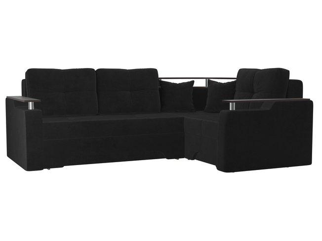 Угловой диван-кровать правый Комфорт, черный/велюр фото