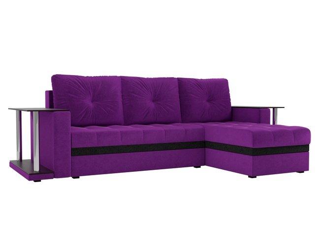 Угловой диван-кровать правый Атланта М 2 стола, фиолетовый/микровельвет фото