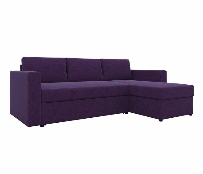 Угловой диван-кровать правый Траумберг, фиолетовый/микровельвет фото