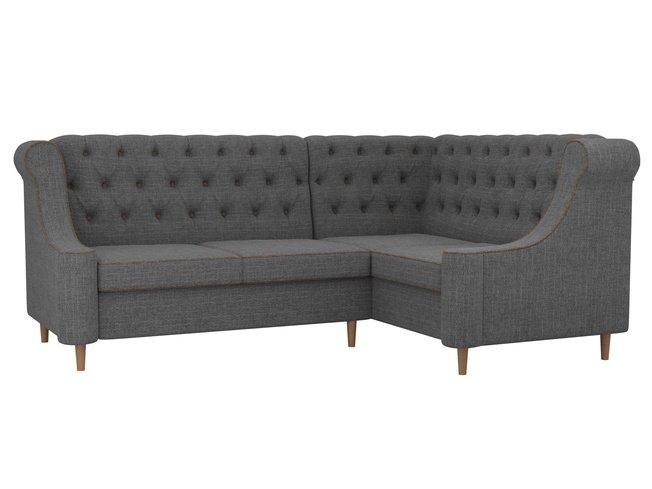 Угловой диван правый Бронкс, серый/рогожка фото