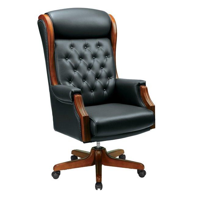 Офисное кресло 887, тёмный орех/чёрная кожа фото