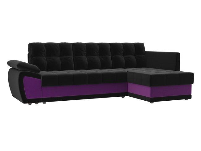 Угловой диван-кровать правый Нэстор прайм, черный/фиолетовый/микровельвет фото