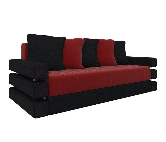 Диван-кровать Венеция, красный/черный/микровельвет фото