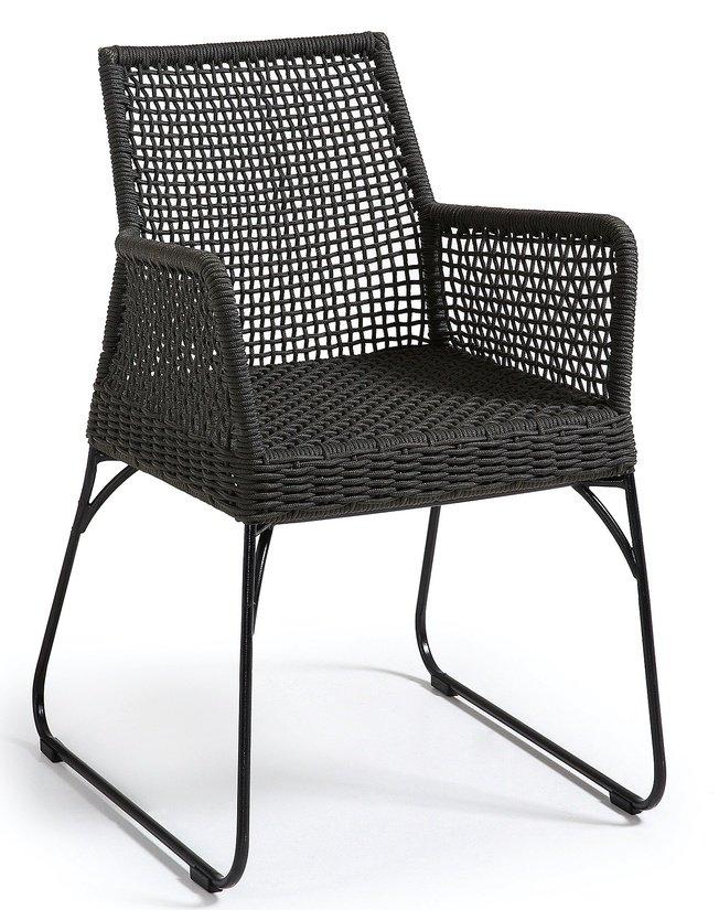 Стул-кресло Novak, металлическая рама/темно-серая веревка фото