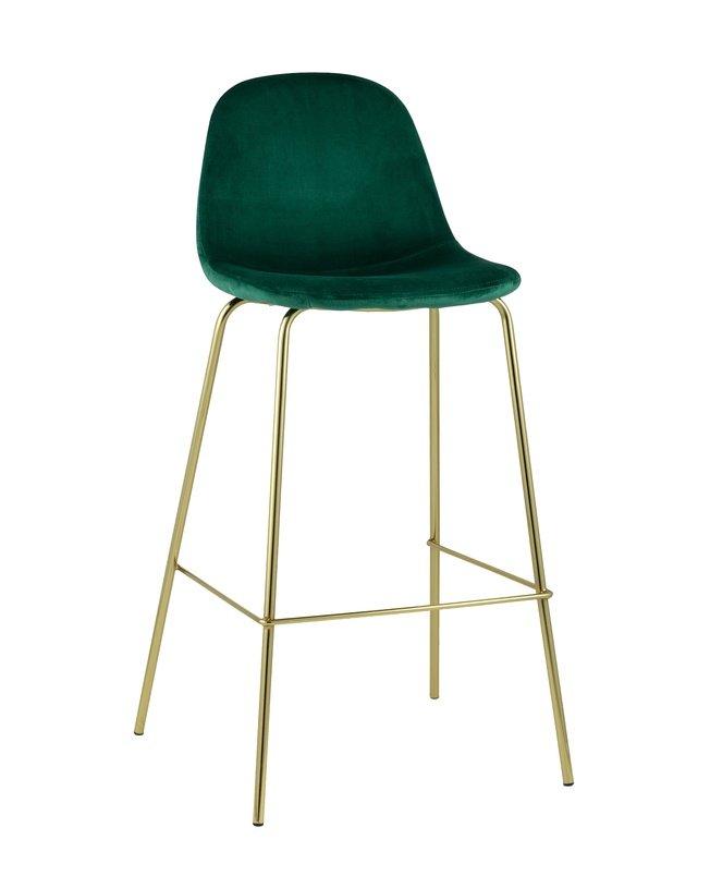 Стул барный Валенсия, велюр зеленый/золотые ножки фото