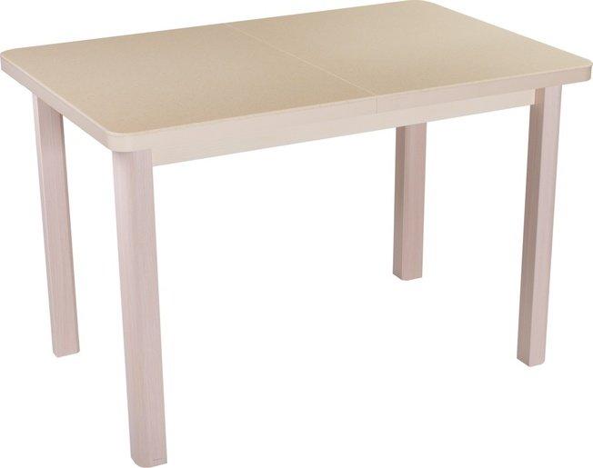 Стол обеденный раздвижной Румба средний ПР-4, дуб молочный/бежевый камень фото