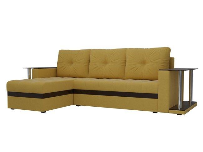 Угловой диван-кровать левый Атланта М 2 стола, желтый/микровельвет фото