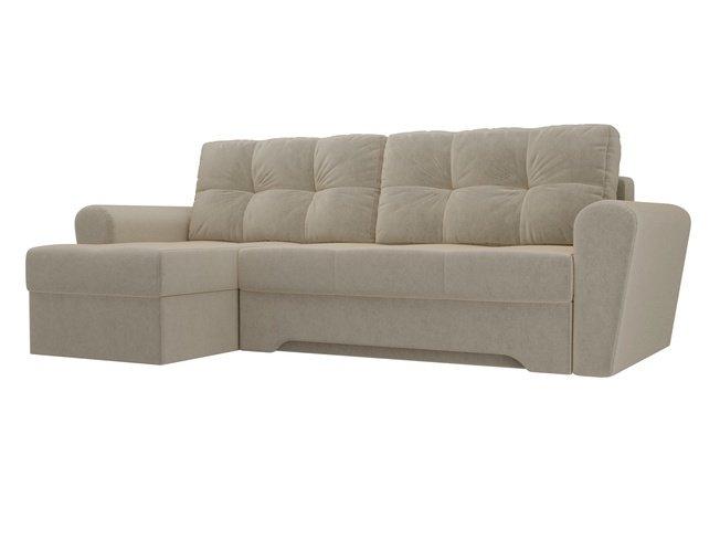 Угловой диван-кровать левый Амстердам, бежевый/микровельвет фото