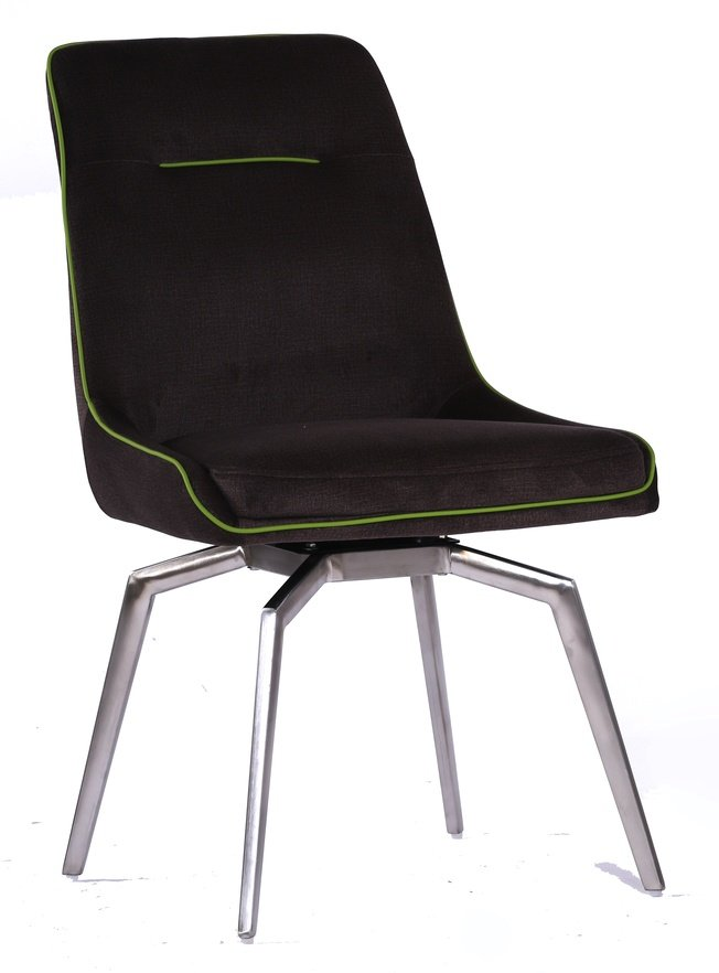 Стул металлический крутящийся FORUM, коричневый с зеленым кантом фото