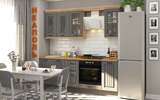 Кухня Неаполь 2200, серый матовый фото
