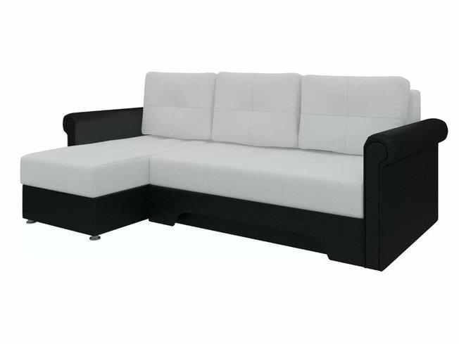 Угловой диван-кровать левый Леон, белый/черный/экокожа фото